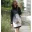 ( พร้อมส่งเสื้อผ้าเกาหลี) เดรสโทนสีดำแขนยาว คอกลม ด้านหน้าพิมพ์ลายแมว ลายสวยคมชัด ตัดต่อแขนยาวด้วผ้าสีดำล้วนจั้มปลายแขน thumbnail 8
