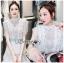 Astrid Blue Back Ribbon Scalloped White Lace Dress thumbnail 1