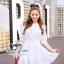 ( พร้อมส่งเสื้อผ้าเกาหลี) เดรสสีขาวเนื้อผ้าลินินทอปักลวดลายลูกไม้ ผ้าสวยมากค่ะมีtextureในตัว สม็อกรอบเอวค่ะ ปลายแขนจั๊มสามส่วน ชายกระโปรงระบาย มีซับในในตัวนะคะ thumbnail 1