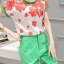 เสื้อผ้าเกาหลี พร้อมส่ง Freshy Red Floral Line Top + Apple Green Pant Set thumbnail 6