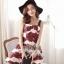 เสื้อผ้าเกาหลี พร้อมส่ง เดรสสายเดี่ยว ลุคสาวคาวาอี้ พิมพ์ลายดอกไม้สวยน่ารัก thumbnail 2