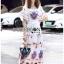 Amelia Colourful Printed White Crepe Dress thumbnail 3
