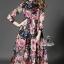 colorful rose printed long sleeve maxi dress thumbnail 1