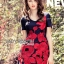 ชุดเดรสเกาหลี พร้อมส่งมินิเดรสปักลายดอกกุหลาบสีแดงสไตล์หวานปรเซ็กซี่ thumbnail 1