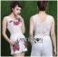 เสื้อผ้าเกาหลี พร้อมส่งเพลย์สูทขาสั้นผ้าลูกไม้ปักดอกกุหลาบสีแดง3D thumbnail 7