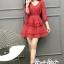 Mini Layered Dress Red Blood&White Classic Lace hem thumbnail 7