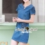 ชุดเดรสเกาหลี พร้อมส่งLV Pocket stick Denim Dress thumbnail 2