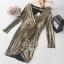 เสื้อผ้าเกาหลี พร้อมส่ง เดรสหรู ลุคสาวมั่น เนื่อผ้าทอพิเศษอย่างดีสีทองมันวับ thumbnail 8