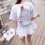 ( พร้อมส่ง) เสื้อดีไซส์น่ารัก ช่วงหลังผูกโบว์เก๋ๆ ช่วงเอวสม็อคระบายชาย เนื้อผ้าคอตตอลมีลายในตัว ผ้าเนื้อนิ่มใส่สะบายมากค่ะ thumbnail 5