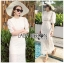 Sofie Modern Vintage Embroidered and Laser-Cut White Cotton Long Dress thumbnail 1