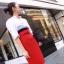 เสื้อผ้าเกาหลี พร้อมส่ง เสื้อเชิ้ตสีขาวใส่แมทซ์ กับกระโปรงเอวสูง มาพร้อมเข็มขัดสีแด thumbnail 3