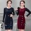 เสื้อผ้าเกาหลี พร้อมส่งElegant 2 Tones Dress -mini dress thumbnail 1