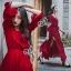 European Chiffon Red Hot Showing Leg Long Sleeve Maxi Dress thumbnail 1