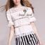 เสื้อผ้าเกาหลี พร้อมส่ง Chic Layer Lace Stripy Pants Set thumbnail 1