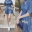 ( พร้อมส่งเสื้อผ้าเกาหลี) เดรสเชิ้ตผ้าเดนิมสไตล์คันทรีแบบโมเดิร์น ตัวนี้ทรงชุดเก๋มาก ช่วงคอเสื้อเป็นทรงเสื้อเชิ้ตติดกระดุมแขนยาว ช่วงเอวเข้ารูป ปลายกระโปรงประดับผ้าจับจีบลูกไม้ thumbnail 5