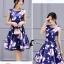ชุดเดรสเกาหลี พร้อมส่งMini Dress ผ้าซาตินสีน้ำเงินเข้มปริ้นลายดอกไม้สีชมพู thumbnail 3