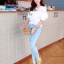( พร้อมส่ง) เสื้อขาวแต่งลูกไม้ซีทรูและระบายอก จั้มแขนตุ๊กตา เอวจั้ม ลุคสาวหวาน ผ้าcotton เนื้อนิ่มใส่สะบาย งานPremium Quality By Cliona thumbnail 4