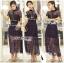 ชุดเดรสเกาหลี พร้อมส่งSelf-Portrait Scallop Edged Midi Dress in Burgundy thumbnail 5