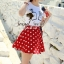( พร้อมส่ง) Set Perfume Print Chanel Style Diamond Fernish Top match with Dotty Red Skirt by Seoul Secret thumbnail 5
