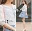 เสื้อผ้าเกาหลี พร้อมส่งเสื้อคลุมผ้าคอตตอนปักลายดอกไม้สไตล์เบสิก thumbnail 6