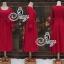 European Chiffon Red Hot Showing Leg Long Sleeve Maxi Dress thumbnail 7