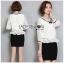เสื้อผ้าเกาหลีพร้อมส่ง เสื้อผ้าลูกไม้สีขาวตกแต่งริบบิ้นสีดำสไตล์วินเทจ thumbnail 14