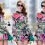 เสื้อผ้าเกาหลี พร้อมส่งFashionista pink flora set thumbnail 5