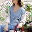 เสื้อผ้าเกาหลี พร้อมส่ง เสื้อเนื้อผ้ายีนเดนิมผสมคอตตอนเนื้อนุ่ม สวยเก๋ดู Smart ด้วยทรงเสื้อทรงปล่อยๆ เติมความเก๋ด้วยซิป thumbnail 3