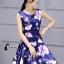 ชุดเดรสเกาหลี พร้อมส่งMini Dress ผ้าซาตินสีน้ำเงินเข้มปริ้นลายดอกไม้สีชมพู thumbnail 1