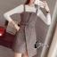 เสื้อผ้าเกาหลี พร้อมส่งเอี้ยมกระโปรงลายสก๊อตสีเทาScott&Shinori thumbnail 3