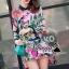 เสื้อผ้าเกาหลี พร้อมส่งFashionista pink flora set thumbnail 2