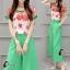 เสื้อผ้าเกาหลี พร้อมส่ง Freshy Red Floral Line Top + Apple Green Pant Set thumbnail 5