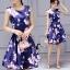 ชุดเดรสเกาหลี พร้อมส่งMini Dress ผ้าซาตินสีน้ำเงินเข้มปริ้นลายดอกไม้สีชมพู thumbnail 4