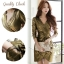 เสื้อผ้าเกาหลี พร้อมส่ง เดรสหรู ลุคสาวมั่น เนื่อผ้าทอพิเศษอย่างดีสีทองมันวับ thumbnail 10