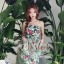 เสื้อผ้าเกาหลี พร้อมส่ง เดรสเกาะอก เนื้อผ้าcottonนุ่มนิ่มพิมพ์ลายดอกไม้ใบไม้คมชัด thumbnail 4