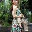 เสื้อผ้าเกาหลี พร้อมส่ง เดรสเกาะอก เนื้อผ้าcottonนุ่มนิ่มพิมพ์ลายดอกไม้ใบไม้คมชัด thumbnail 8