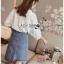 เสื้อผ้าเกาหลีพร้อมส่ง เสื้อผ้าคอตตอนสีขาวปักและฉลุลายสไตล์วินเทจ thumbnail 2