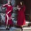 European Chiffon Red Hot Showing Leg Long Sleeve Maxi Dress thumbnail 6