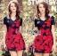 ชุดเดรสเกาหลี พร้อมส่งมินิเดรสปักลายดอกกุหลาบสีแดงสไตล์หวานปรเซ็กซี่ thumbnail 8