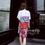 ชุดเดรสเกาหลี พร้อมส่งChic Graffiti monogram Dress thumbnail 5