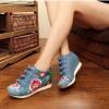 รองเท้าผ้าใบจีน ลายดอกไม้ สีฟ้า ไซส์ใหญ่