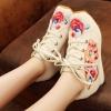 รองเท้าผ้าใบจีน ลายดอก สีครีม ไซส์ใหญ่