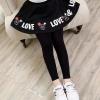 เลกกิ้งกระโปรง สีดำ สกรีน Love