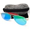 แว่นกันแดด แฟชั่น ป้องกัน UV400 กรอบสีทอง เลนส์ปรอทสีน้ำเงิน รุ่น gloriously