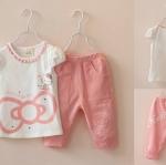 ชุดเด็ก : ชุดเสื้อคิตตี้สีขาว+กางเกงสามส่วนสีชมพู