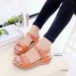 รองเท้าสุขภาพ เกรด A รัดส้น พื้นนวดเท้า [สีส้ม]