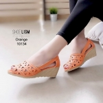 รองเท้าส้นเตารีด ฉลุลายกราฟฟิก หนัง pu [สีส้ม]