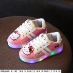 รองเท้าเด็กหญิงคิตตี้ มีไฟ สีชมพู-ขาว