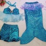 ชุดว่ายน้ำเด็ก เซ็ตหางนางเงือก เสื้อระบายสีฟ้า+กางเกงขาสั้น+หางเงือก กรุ๊ปเล็ก