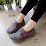 ผ้าใบเกาหลี soft&comfort แต่งซิป พื้นถอดได้(ผ้าใบยืด) [สีเทา]